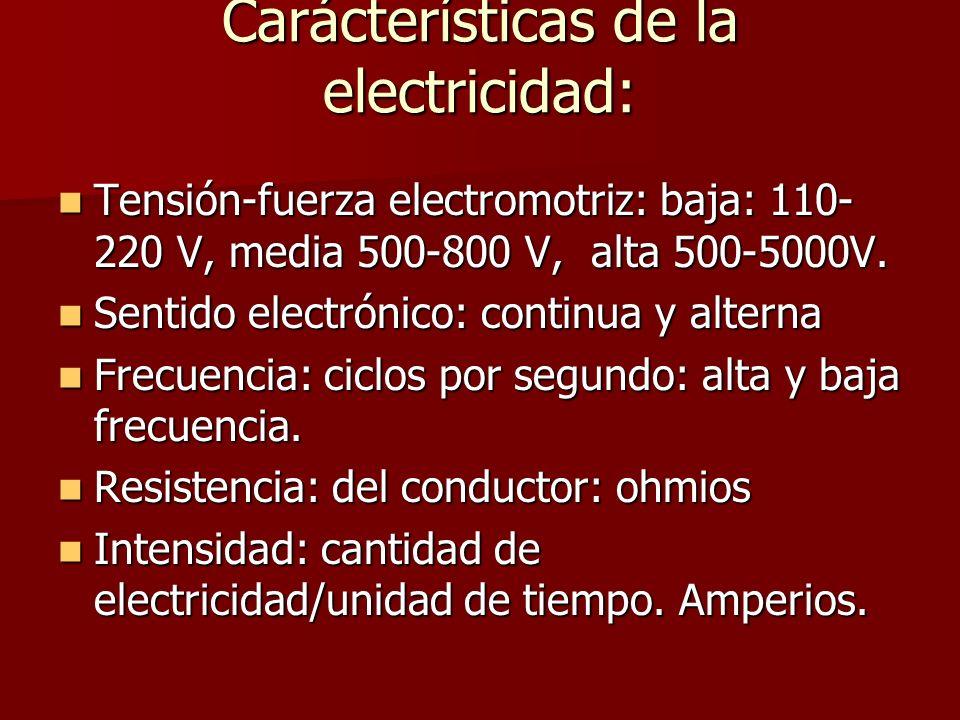 Carácterísticas de la electricidad: