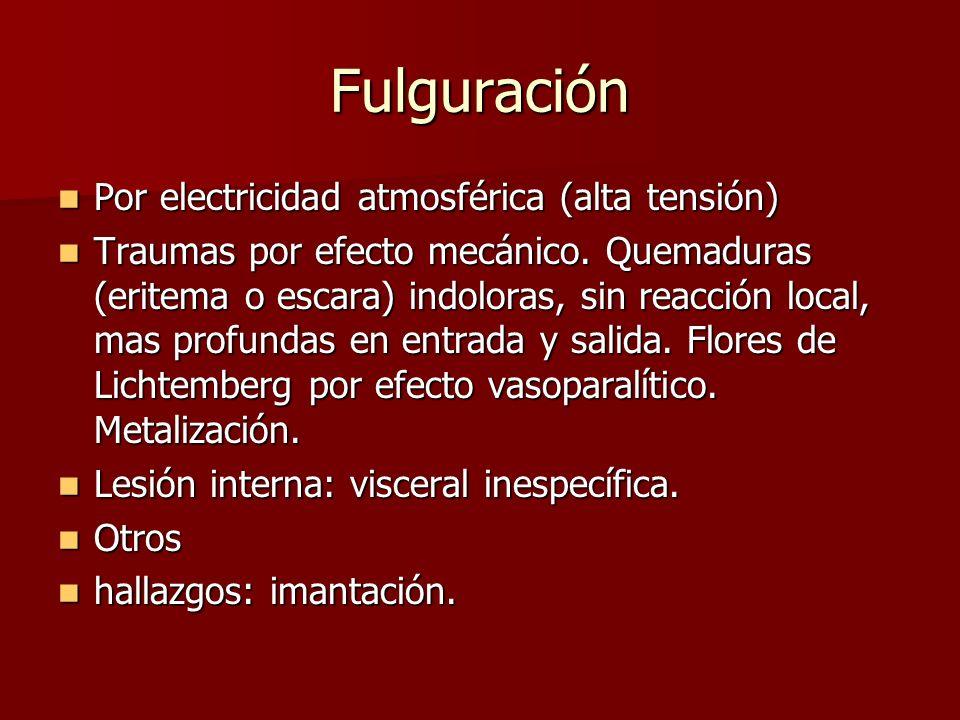 Fulguración Por electricidad atmosférica (alta tensión)