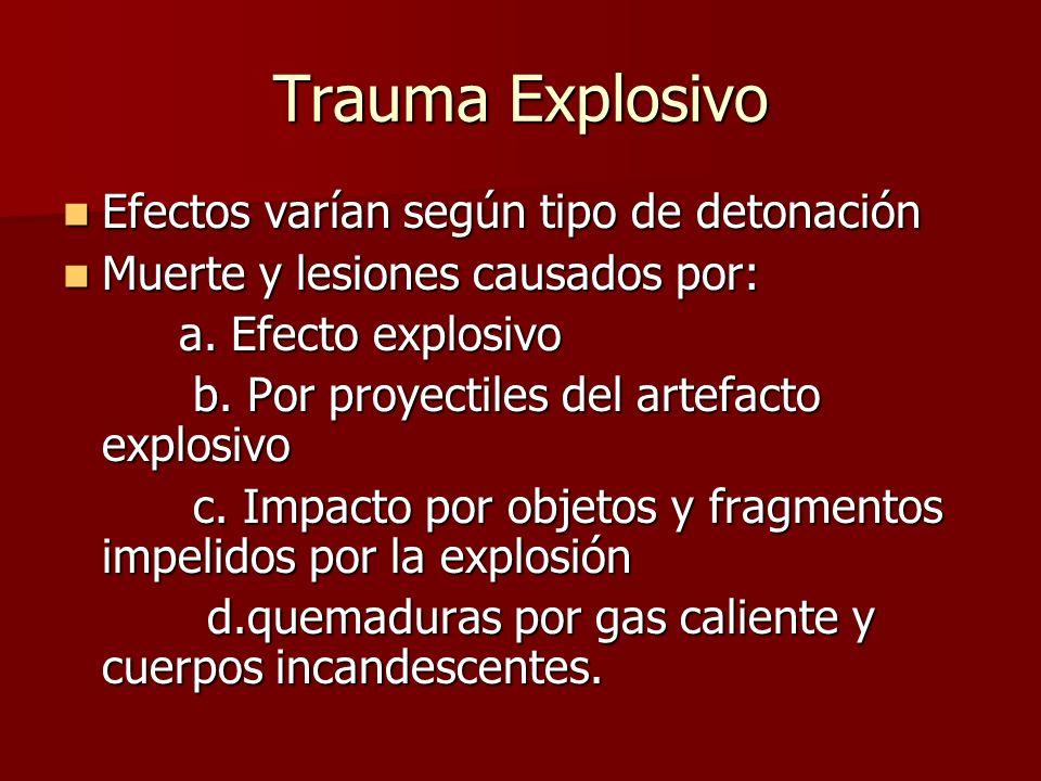 Trauma Explosivo Efectos varían según tipo de detonación