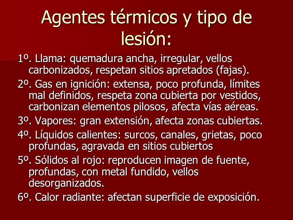 Agentes térmicos y tipo de lesión: