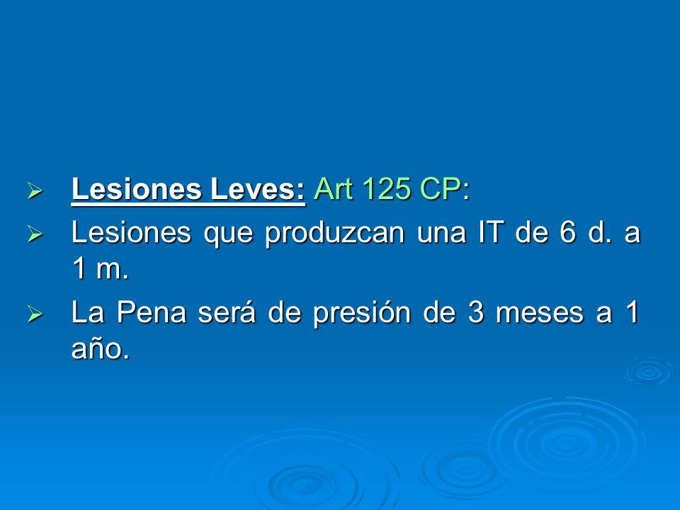 Lesiones Leves: Art 125 CP: