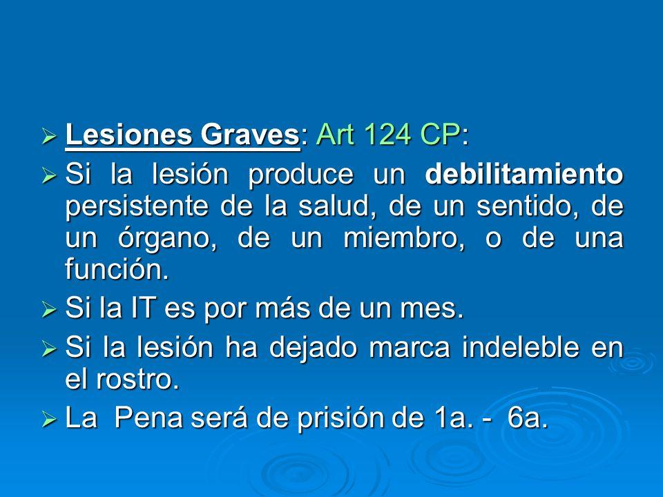 Lesiones Graves: Art 124 CP: