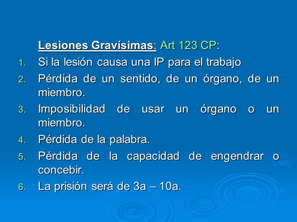 Lesiones Gravísimas: Art 123 CP:
