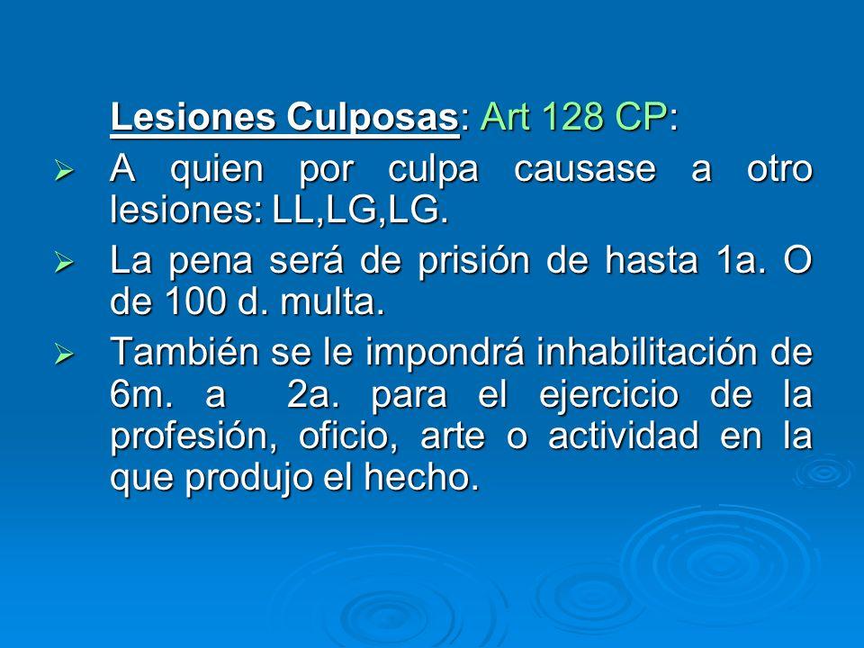 Lesiones Culposas: Art 128 CP: