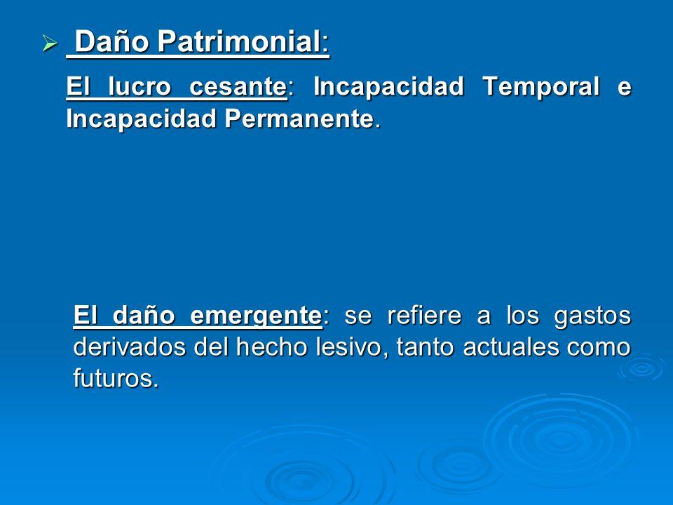 El lucro cesante: Incapacidad Temporal e Incapacidad Permanente.