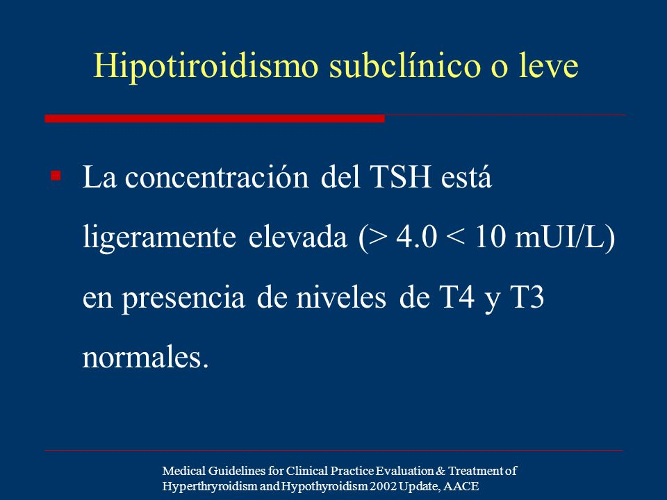 Hipotiroidismo subclínico o leve