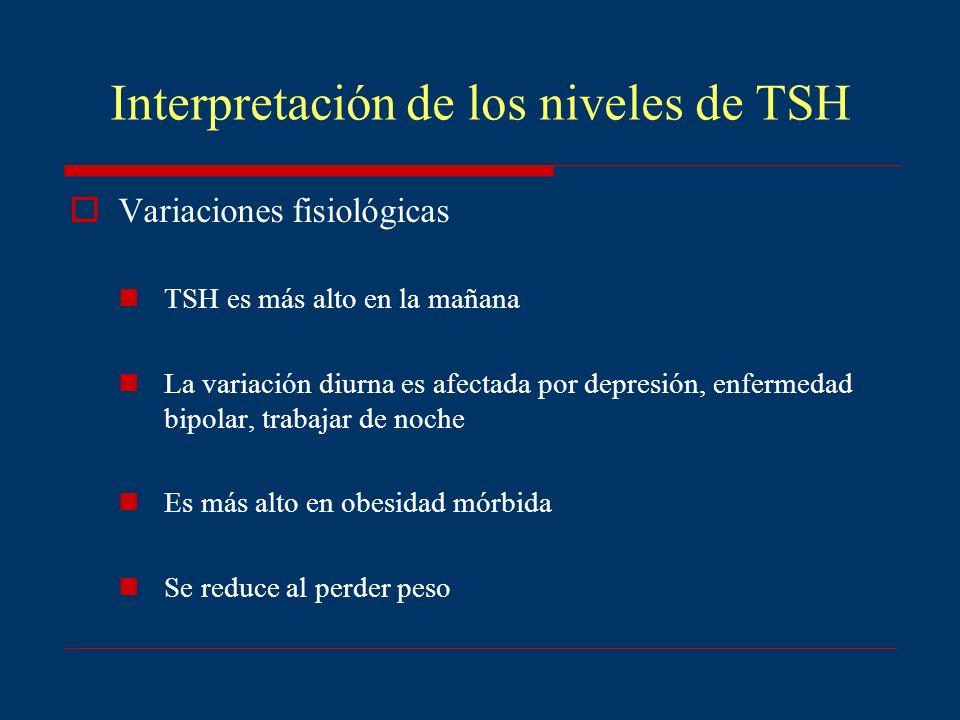 Interpretación de los niveles de TSH