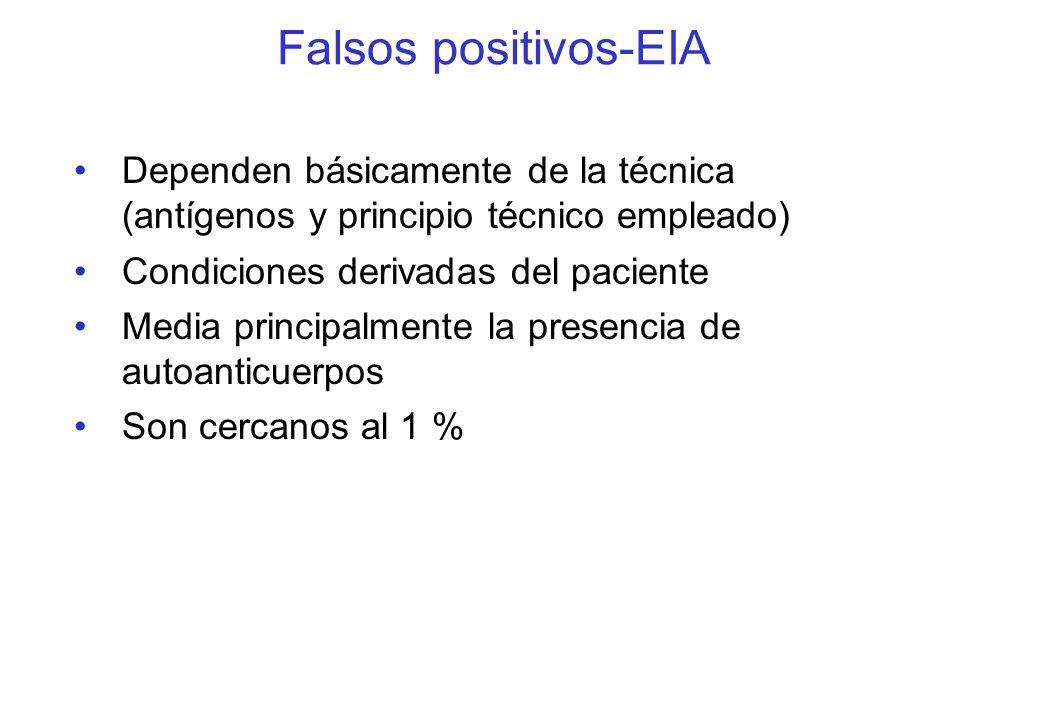 Falsos positivos-EIA Dependen básicamente de la técnica (antígenos y principio técnico empleado) Condiciones derivadas del paciente.