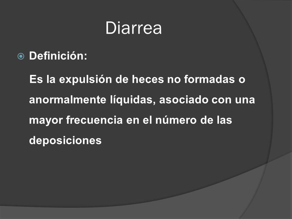 Diarrea Definición: Es la expulsión de heces no formadas o anormalmente líquidas, asociado con una mayor frecuencia en el número de las deposiciones.