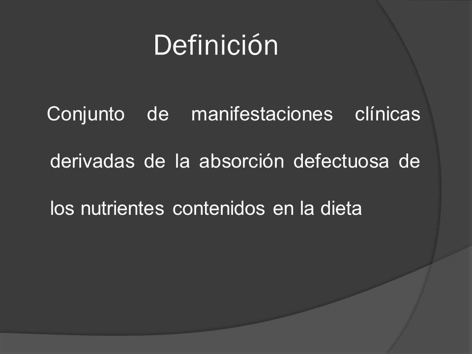 Definición Conjunto de manifestaciones clínicas derivadas de la absorción defectuosa de los nutrientes contenidos en la dieta.