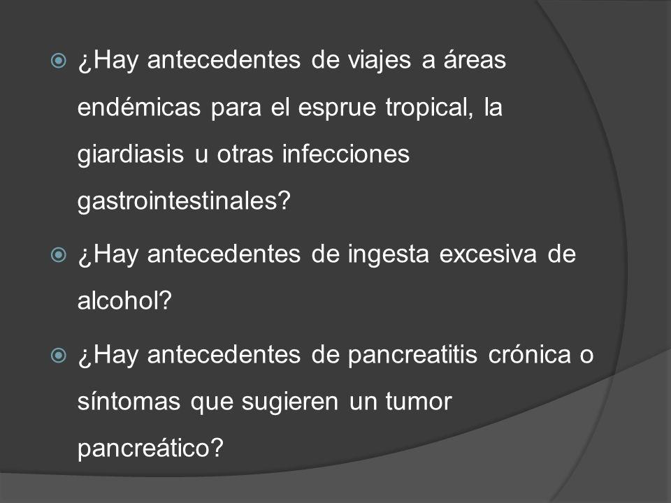¿Hay antecedentes de viajes a áreas endémicas para el esprue tropical, la giardiasis u otras infecciones gastrointestinales
