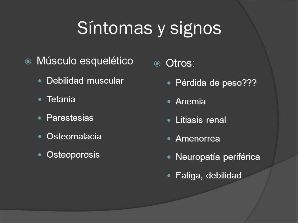 Síntomas y signos Músculo esquelético Otros: Debilidad muscular