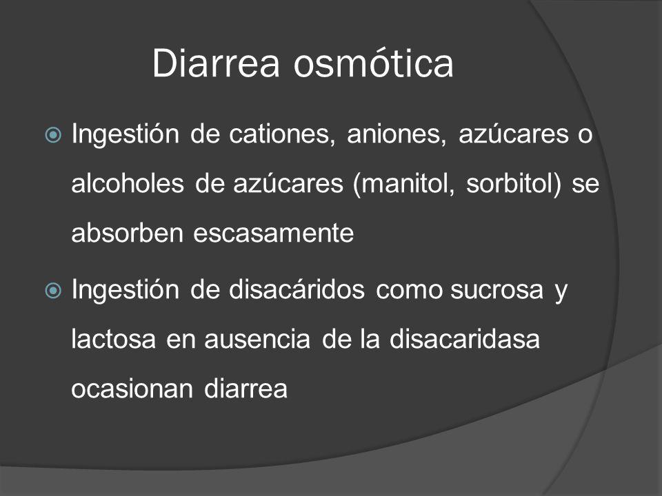 Diarrea osmótica Ingestión de cationes, aniones, azúcares o alcoholes de azúcares (manitol, sorbitol) se absorben escasamente.