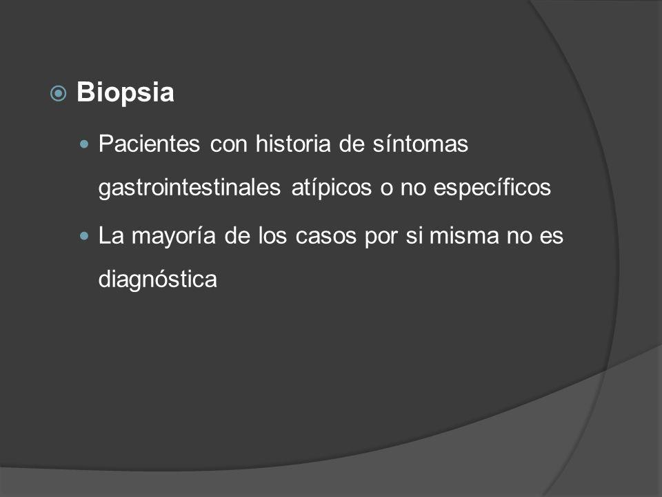Biopsia Pacientes con historia de síntomas gastrointestinales atípicos o no específicos.