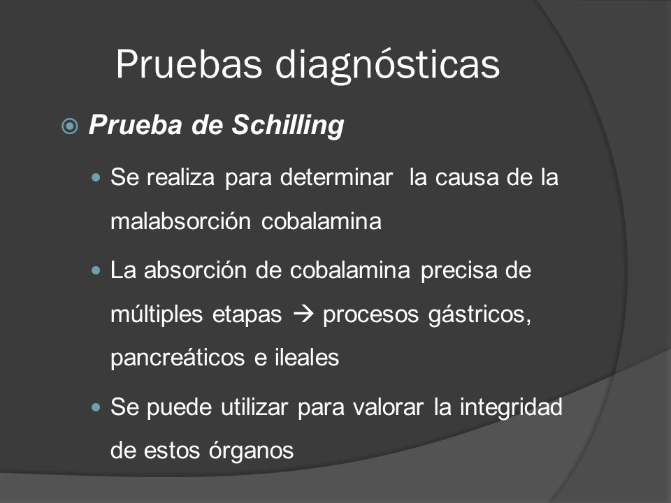 Pruebas diagnósticas Prueba de Schilling