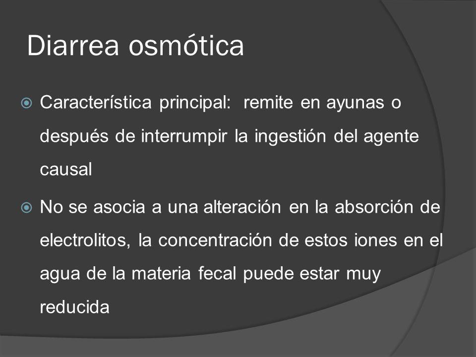 Diarrea osmótica Característica principal: remite en ayunas o después de interrumpir la ingestión del agente causal.
