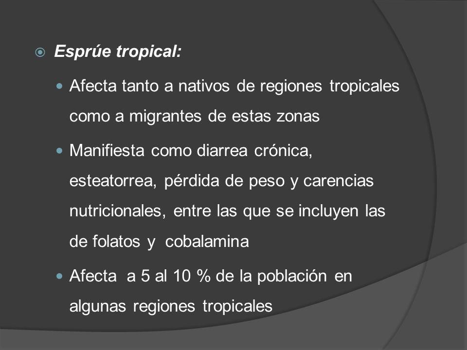 Esprúe tropical: Afecta tanto a nativos de regiones tropicales como a migrantes de estas zonas.