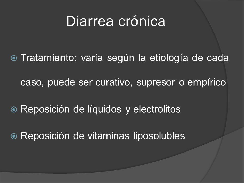 Diarrea crónica Tratamiento: varía según la etiología de cada caso, puede ser curativo, supresor o empírico.