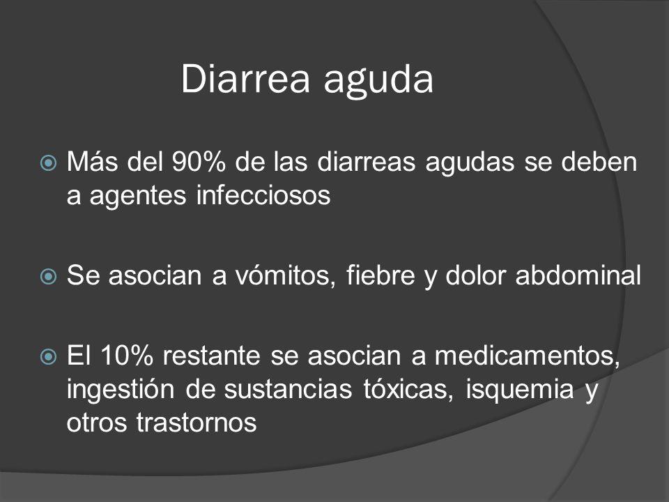 Diarrea aguda Más del 90% de las diarreas agudas se deben a agentes infecciosos. Se asocian a vómitos, fiebre y dolor abdominal.