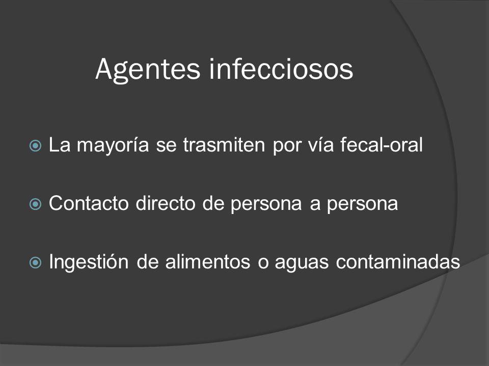Agentes infecciosos La mayoría se trasmiten por vía fecal-oral