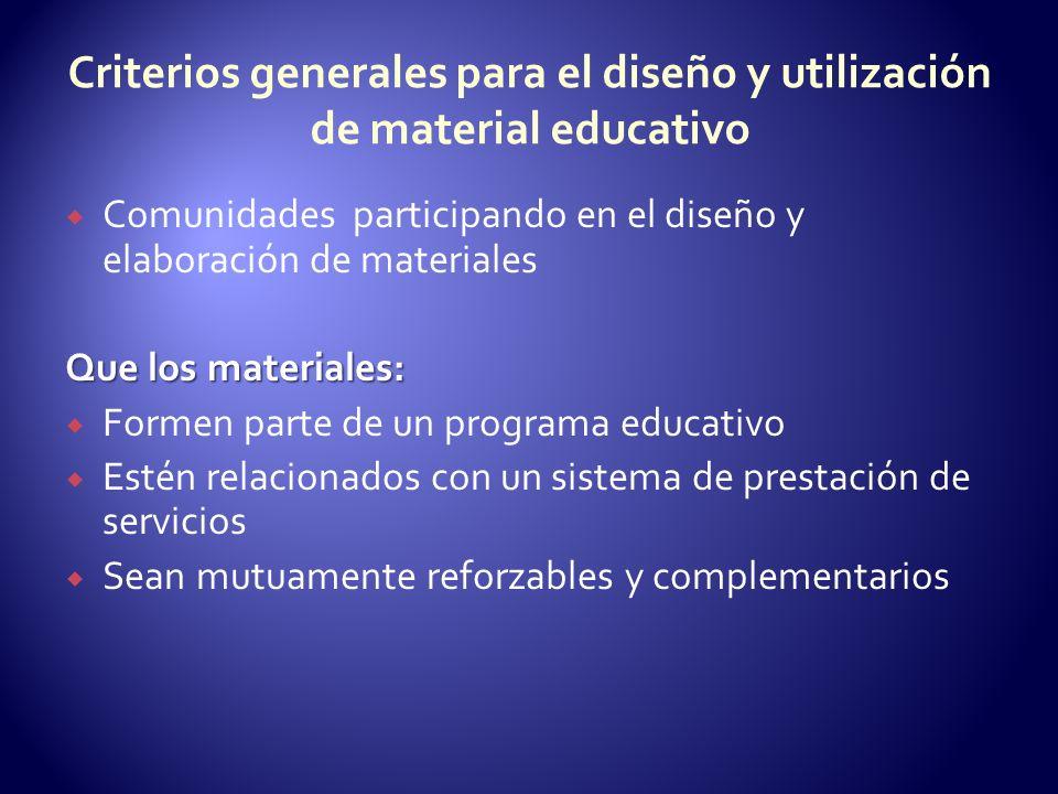 Criterios generales para el diseño y utilización de material educativo