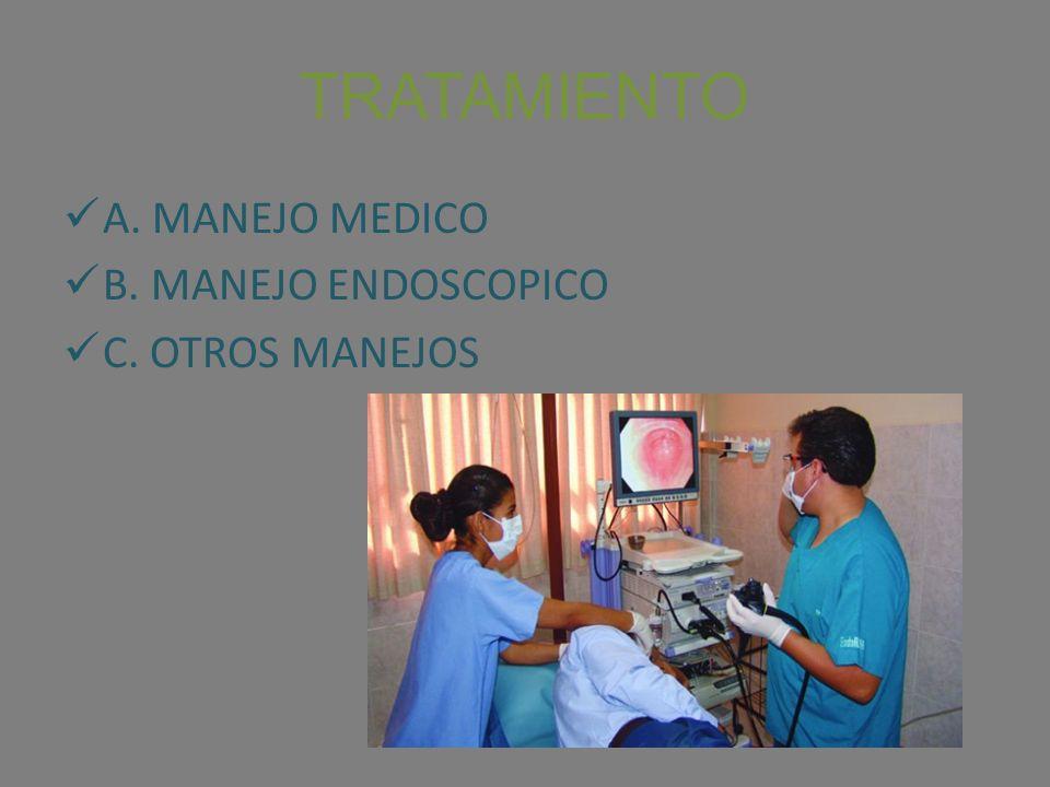 TRATAMIENTO A. MANEJO MEDICO B. MANEJO ENDOSCOPICO C. OTROS MANEJOS