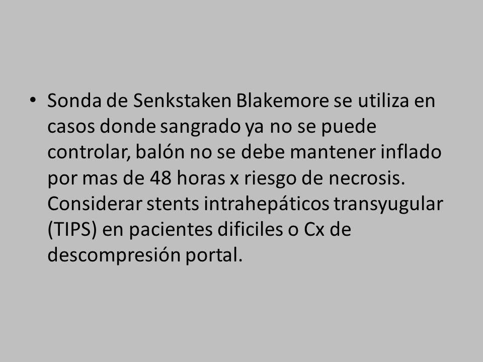 Sonda de Senkstaken Blakemore se utiliza en casos donde sangrado ya no se puede controlar, balón no se debe mantener inflado por mas de 48 horas x riesgo de necrosis.