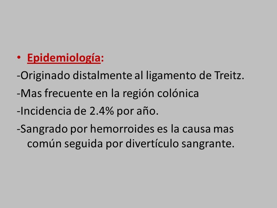 Epidemiología: -Originado distalmente al ligamento de Treitz. -Mas frecuente en la región colónica.