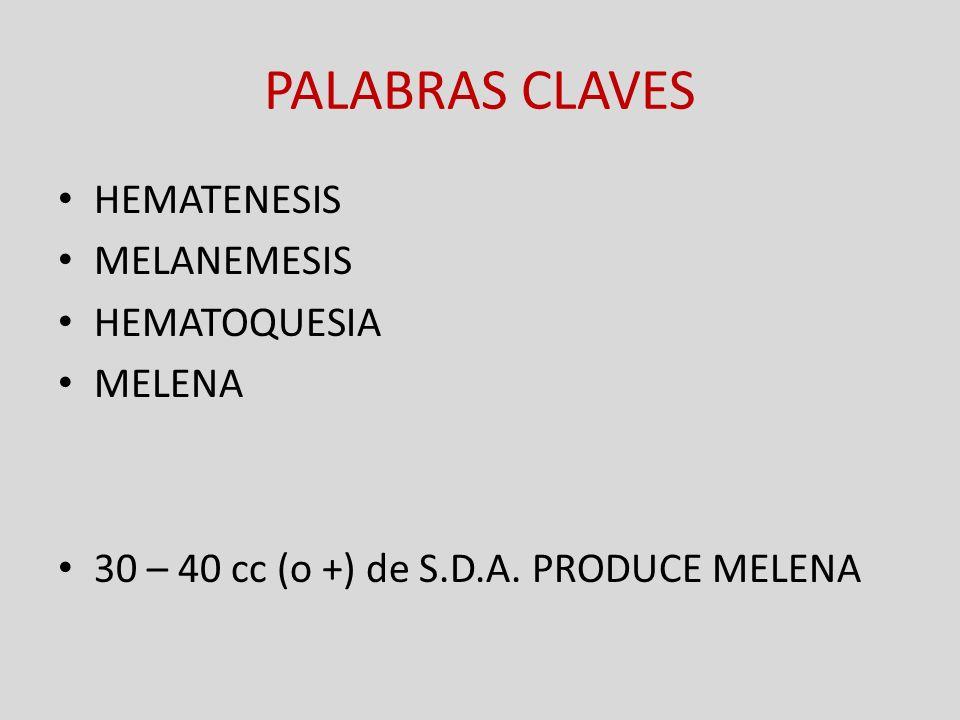PALABRAS CLAVES HEMATENESIS MELANEMESIS HEMATOQUESIA MELENA