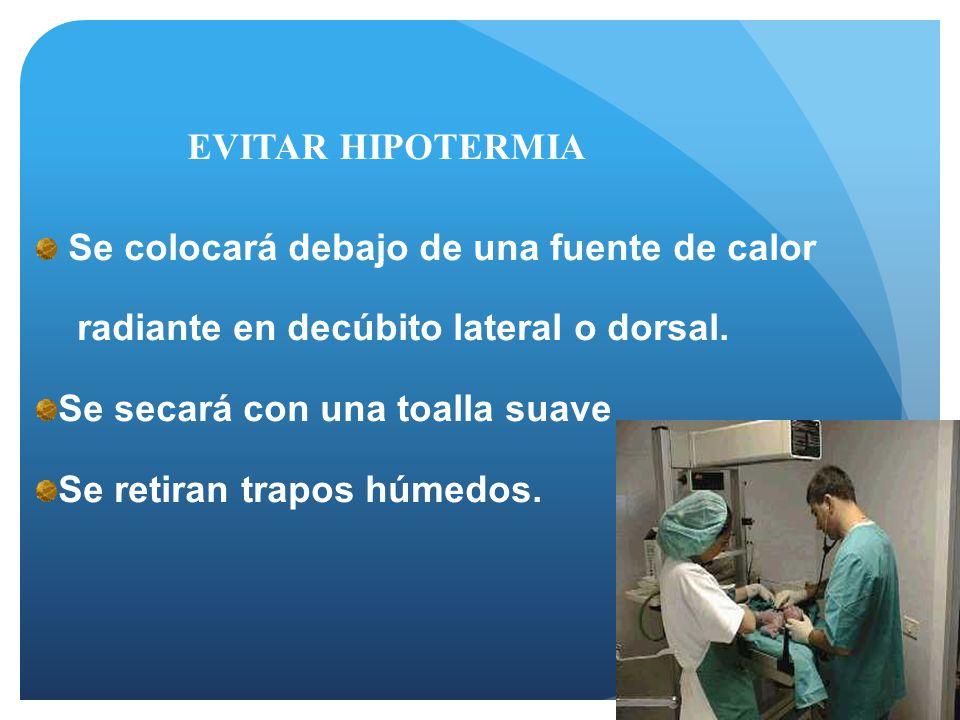 EVITAR HIPOTERMIA Se colocará debajo de una fuente de calor. radiante en decúbito lateral o dorsal.