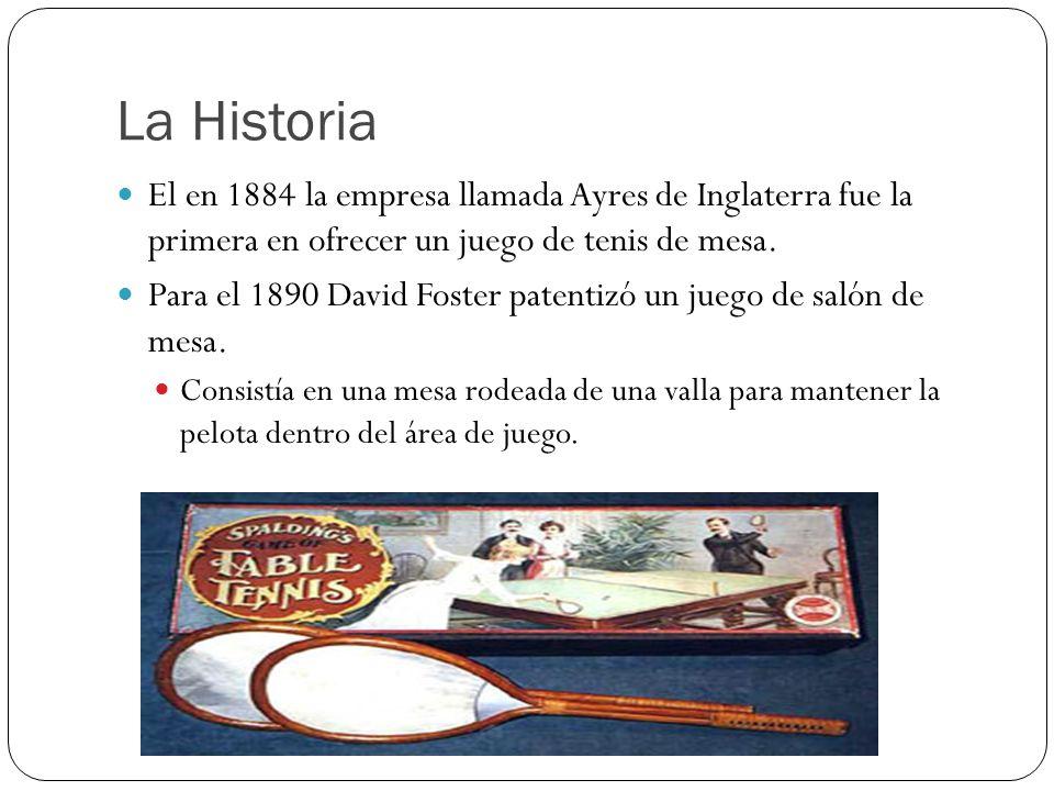 La Historia El en 1884 la empresa llamada Ayres de Inglaterra fue la primera en ofrecer un juego de tenis de mesa.