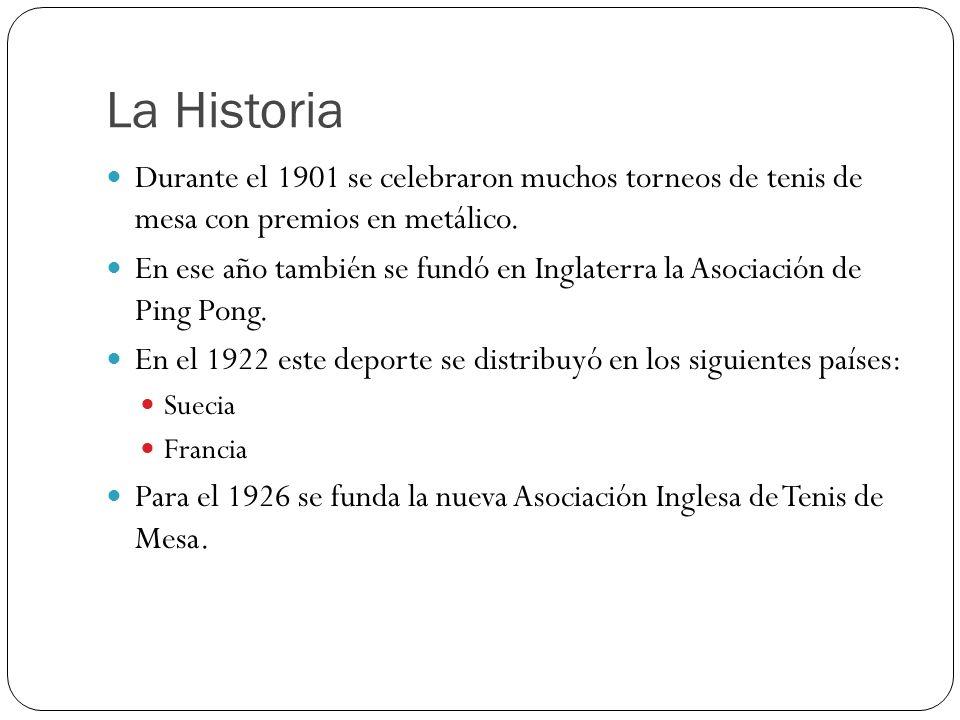 La Historia Durante el 1901 se celebraron muchos torneos de tenis de mesa con premios en metálico.