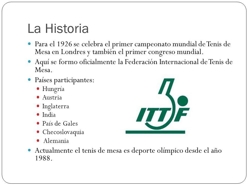 La Historia Para el 1926 se celebra el primer campeonato mundial de Tenis de Mesa en Londres y también el primer congreso mundial.