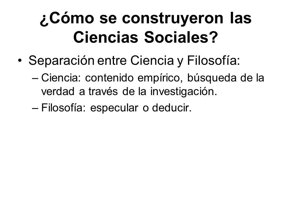 ¿Cómo se construyeron las Ciencias Sociales