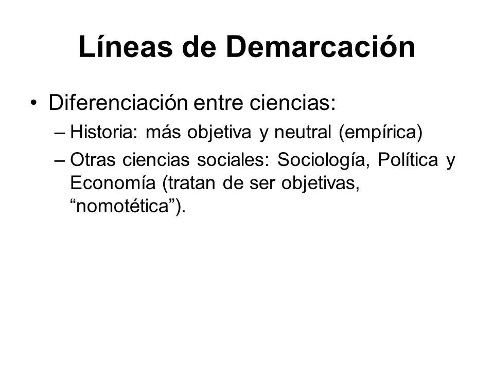 Líneas de Demarcación Diferenciación entre ciencias: