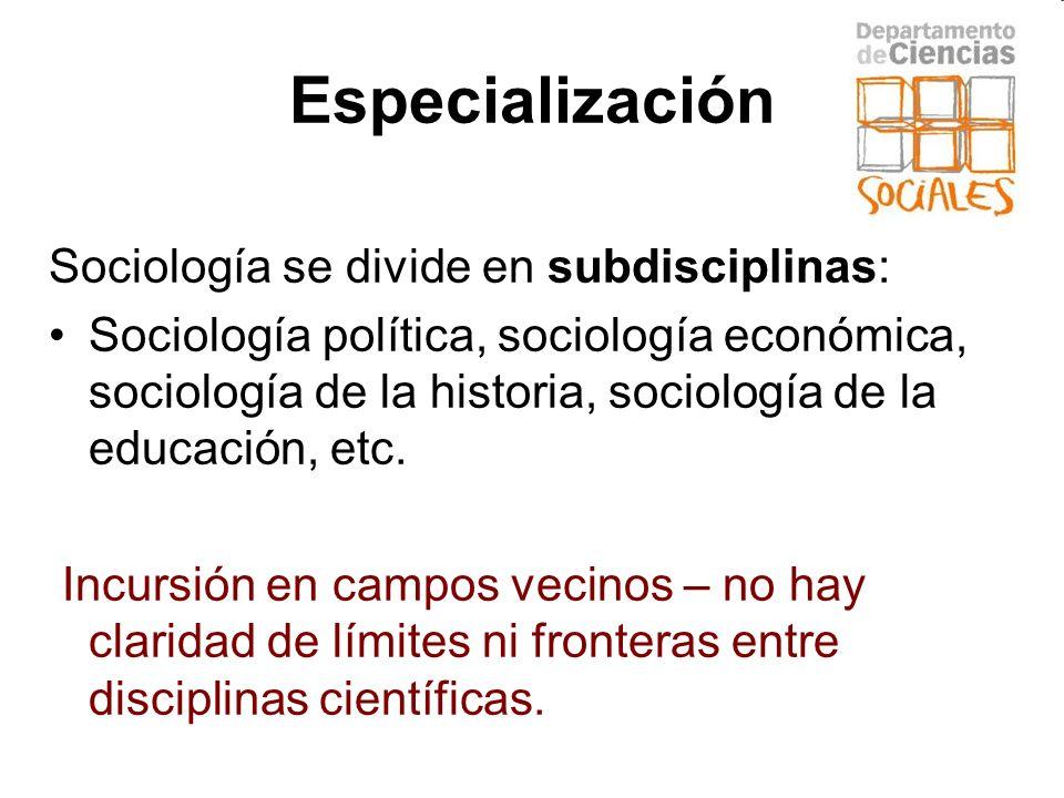 Especialización Sociología se divide en subdisciplinas: