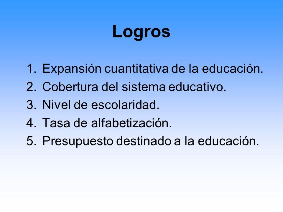 Logros Expansión cuantitativa de la educación.