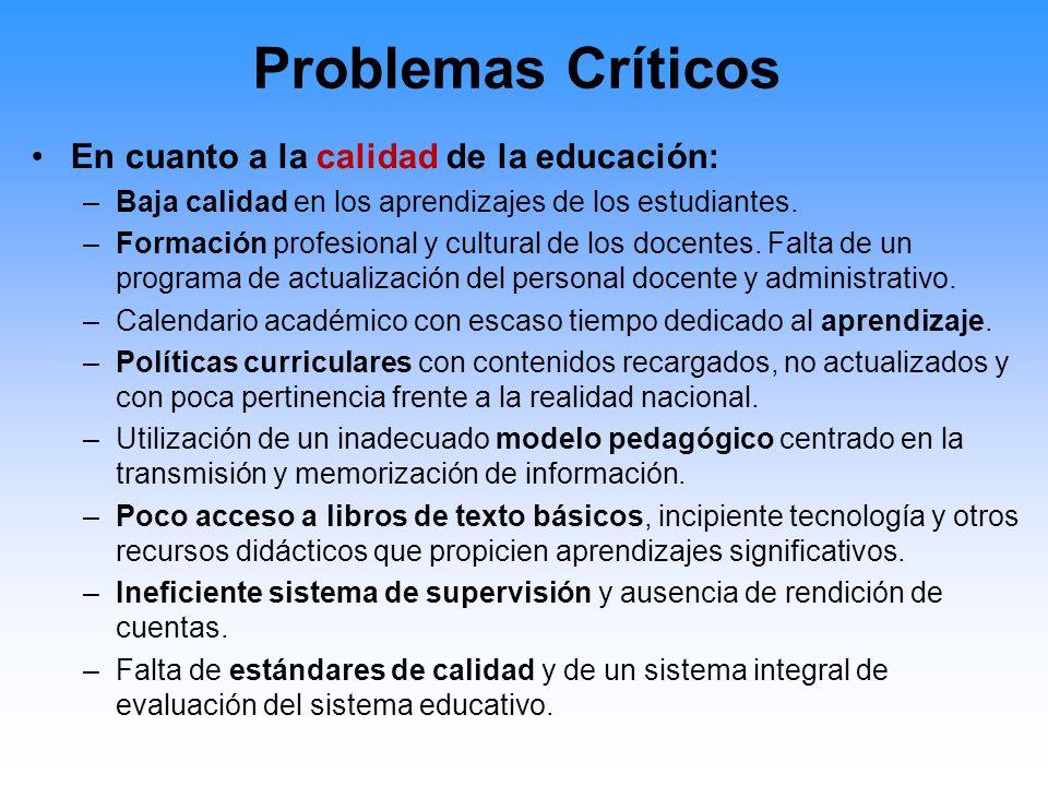 Problemas Críticos En cuanto a la calidad de la educación: