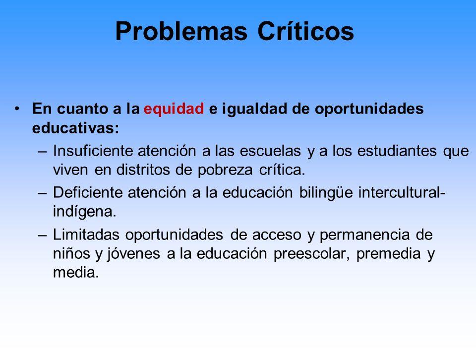 Problemas Críticos En cuanto a la equidad e igualdad de oportunidades educativas: