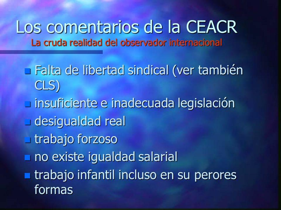 Los comentarios de la CEACR La cruda realidad del observador internacional
