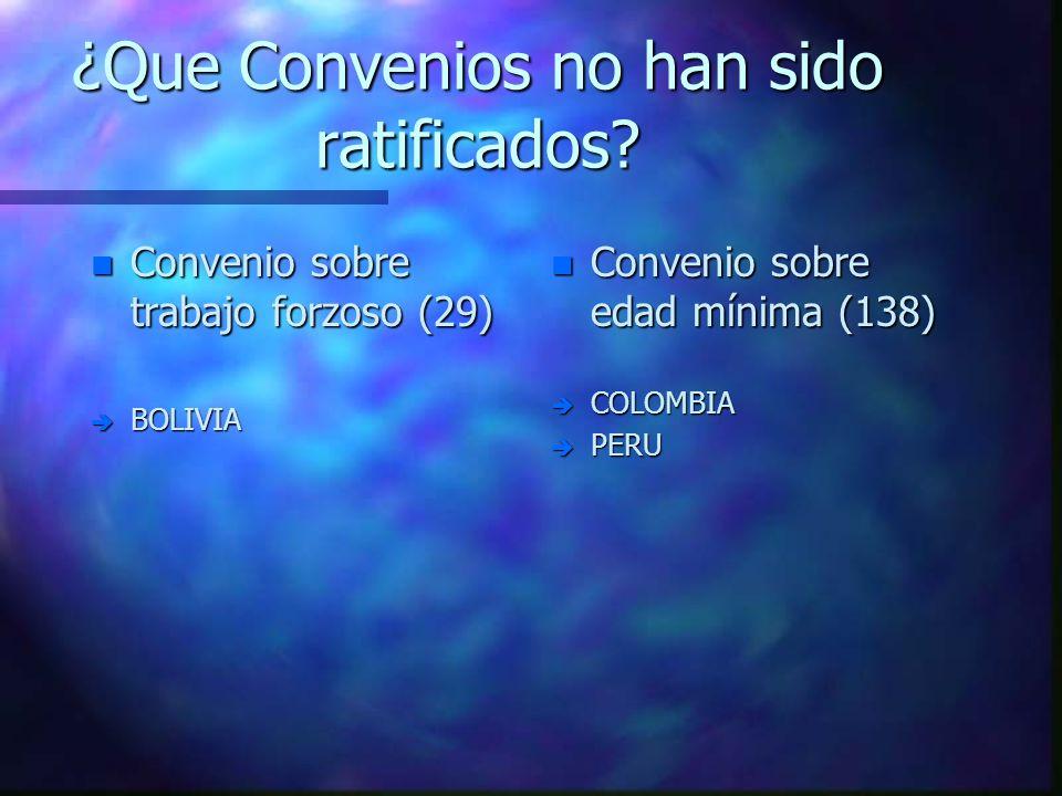 ¿Que Convenios no han sido ratificados