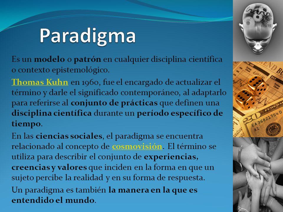 Paradigma Es un modelo o patrón en cualquier disciplina científica o contexto epistemológico.