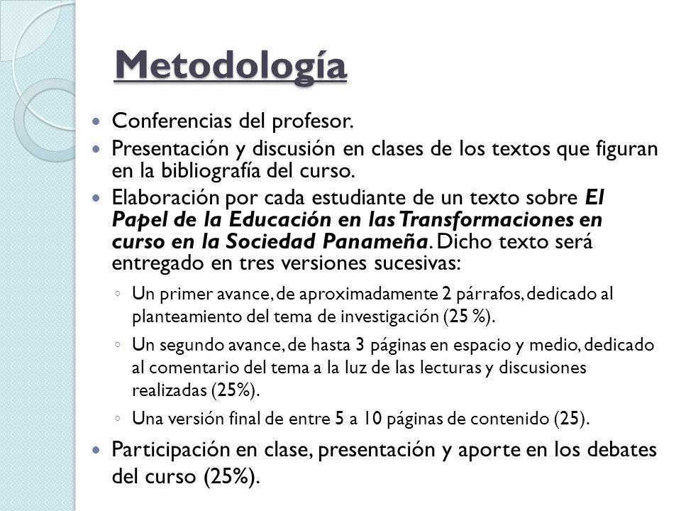 Metodología Conferencias del profesor.