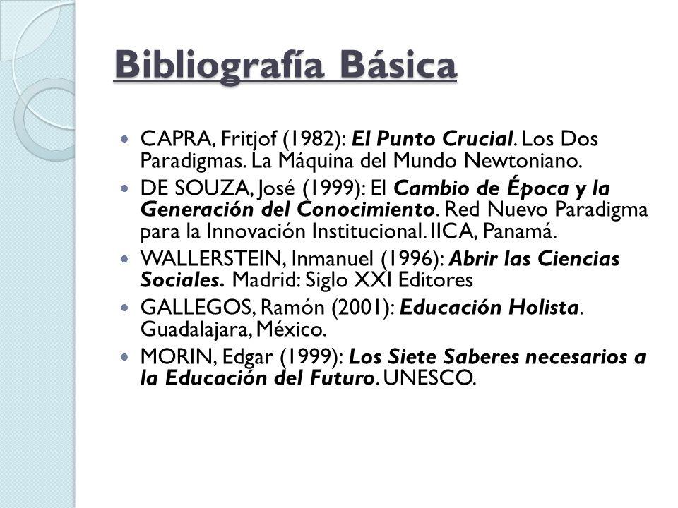 Bibliografía Básica CAPRA, Fritjof (1982): El Punto Crucial. Los Dos Paradigmas. La Máquina del Mundo Newtoniano.