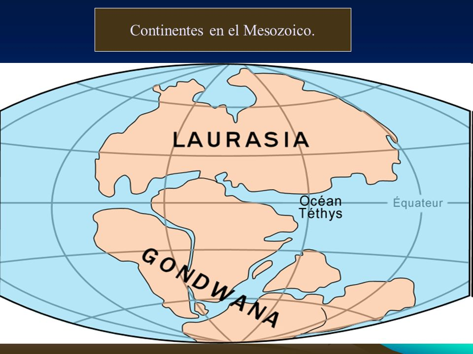 Continentes en el Mesozoico.