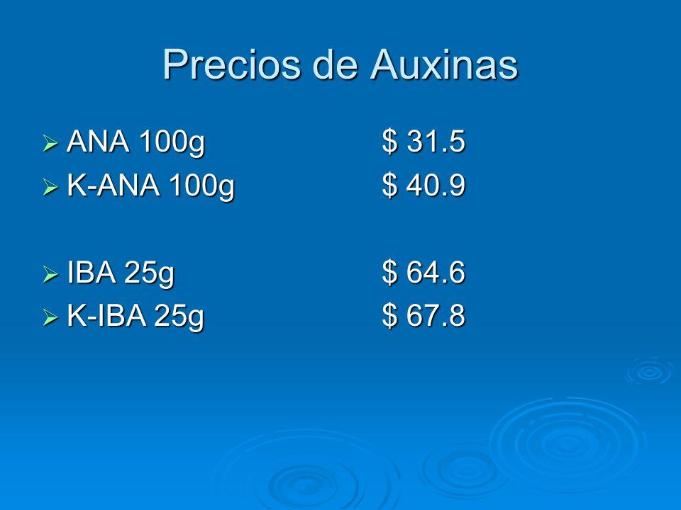 Precios de Auxinas ANA 100g $ 31.5 K-ANA 100g $ 40.9 IBA 25g $ 64.6