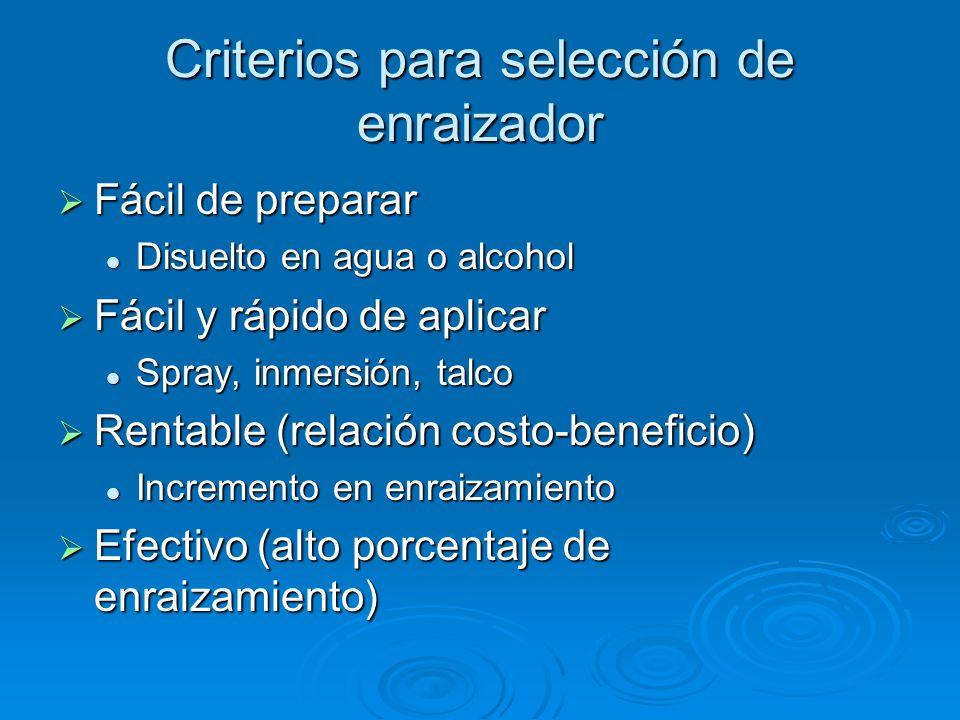 Criterios para selección de enraizador