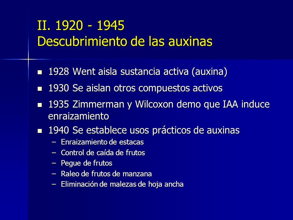 II. 1920 - 1945 Descubrimiento de las auxinas