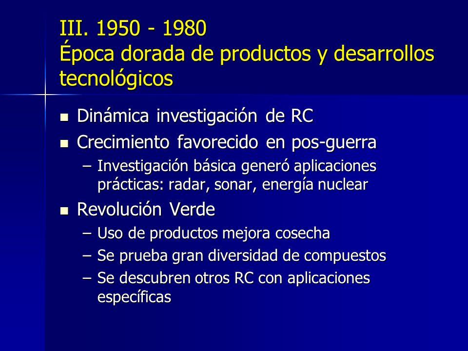 III. 1950 - 1980 Época dorada de productos y desarrollos tecnológicos