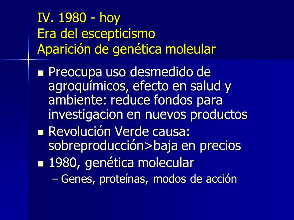 IV. 1980 - hoy Era del escepticismo Aparición de genética moleular